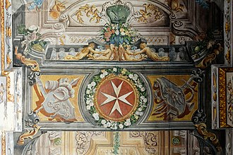 Maltese cross - Fresco on the ceiling of the main corridor in the Grandmaster's Palace in Valletta (Nicolau Nasoni 1724)