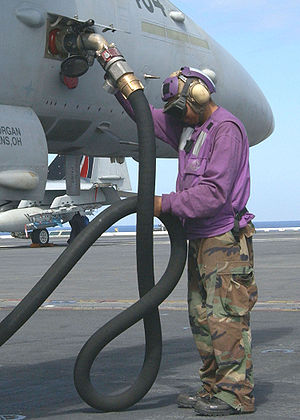 "Aviation boatswain's mate - Aviation fuel handlers wear purple turtleneck jersey and are affectionately known as ""grapes""."