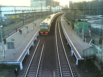 Rizhsky suburban direction of Moscow Railway - A suburban train at Grazhdanskaya railway platform