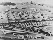 A Transit camp for Prisoners of War near Cape Town during the war. Prisoners were then transferred for internment in other parts of the British Empire.