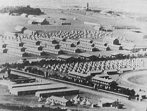Green Point Stadium - The beginnings of the Old Green Point Stadium during the Second Boer War. The old Mouille Point Lighthouse is visible in the background.