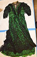 Green Silk and Black Lace Evening Gown worn by Mary E. Foy to the 1916 Democratic National Convention.jpg