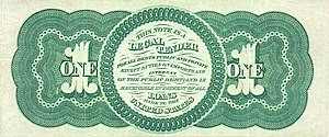 """Public Credit Act of 1869 - Image of one dollar """"Greenback"""", first issued in 1862"""