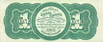 "Public Credit Act of 1869 - Image of one dollar ""Greenback"", first issued in 1862"