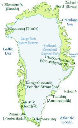Mapa de Gronelândia / Groenlândia / Groelândia