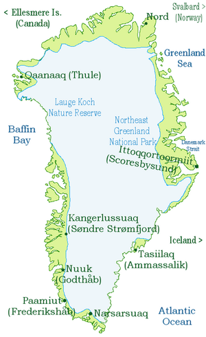 Outline of Greenland - An enlargeable map of Greenland