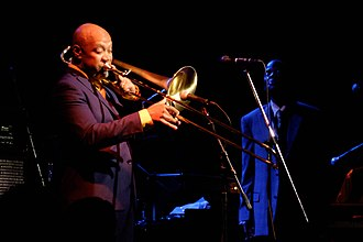 Greg Boyer (musician) - Greg Boyer performs with Maceo Parker at Jazz Alley in Seattle, Washington on August 8, 2015.