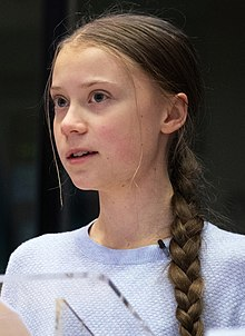 Portrait of Thunberg at the European Parliament in 2020