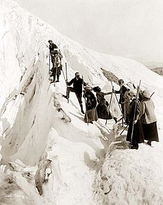 Group of men and women climbing Paradise Glacier in Mt. Rainier National Park, Washington.jpg
