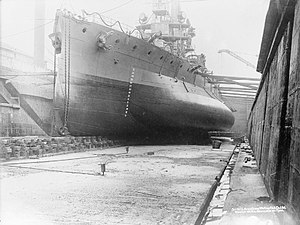 Paravane (weapon) - Image: HMS Glatton in drydock IWM SP 2083