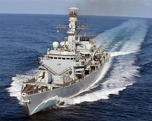 HMS Kent carries out manoeuvres off the coast of Djibouti. MOD 45158509.jpg