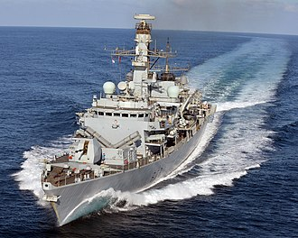 HMS Kent (F78) - Image: HMS Kent carries out manoeuvres off the coast of Djibouti. MOD 45158509