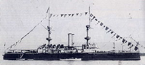 HMS Resolution (1892) - Resolution dressed overall in 1895.
