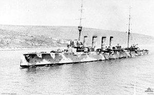 Battle of Durazzo (1918) - HMS Weymouth in Greece during the Battle of the Mediterranean
