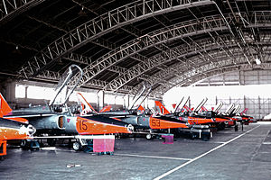 RAF Valley - 4 FTS Gnat T.1 trainers in the Valley maintenance hangar in 1967