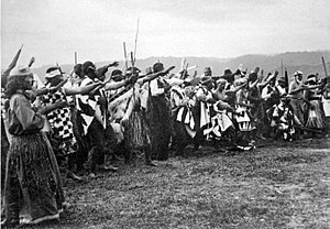 Haka - A group of men and women perform a haka for Lord Ranfurly at Ruatoki, Bay of Plenty, in 1904