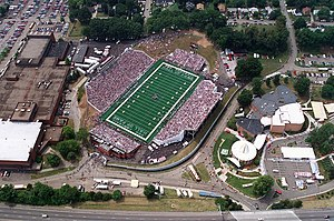 Pro Football Hall of Fame - Tom Benson Hall of Fame Stadium with the Hall of Fame in lower right