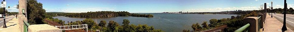 Panoramic view of Hamilton Harbour from T.B. McQuesten High Level Bridge on York Boulevard, near Harvey Park.