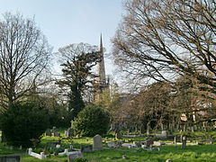 a number of grave stones in the grass, in the background trees with bare limbs and behind them a church with a tall thin spire