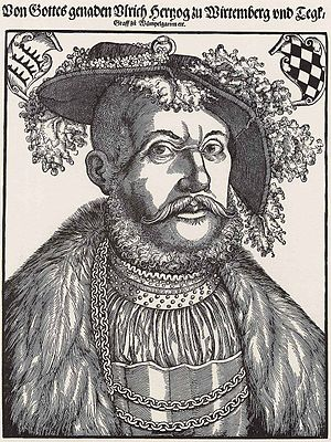 Hans Brosamer - Ulrich, Duke of Württemberg, wood engraving, ca. 1545. Now in the Kupferstich-Kabinett in Dresden.