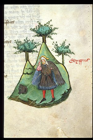 The Fall of Princes - Miniature of Oedipus, dressed in royal garments, tearing out his own eyes, from John Lydgate's The Fall of Princes, England (Bury St Edmunds?), c. 1450 - c. 1460, Harley MS 1766, f. 48r