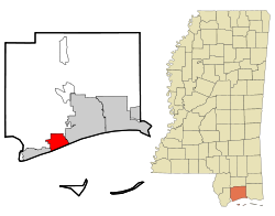 Harrison County Mississippi Incorporated and Unincorporated areas Long Beach Highlighted.svg