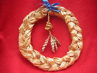 Wreath - A Scandinavian-style harvest wreath made of woven straw.