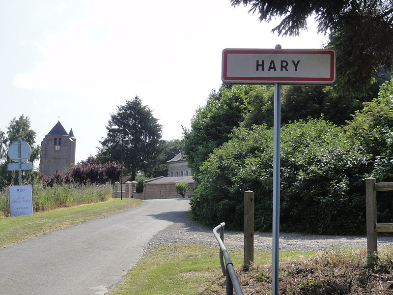 Hary (Aisne) city limit sign