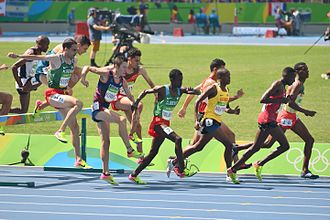 Djibouti at the 2016 Summer Olympics - Ismail Ibrahim competing in the 3000 m steeplechase in Rio.