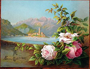 Helga von Cramm - Image: Helga von Cramm, chromolithograph, Lake Maggiore, Christmas card