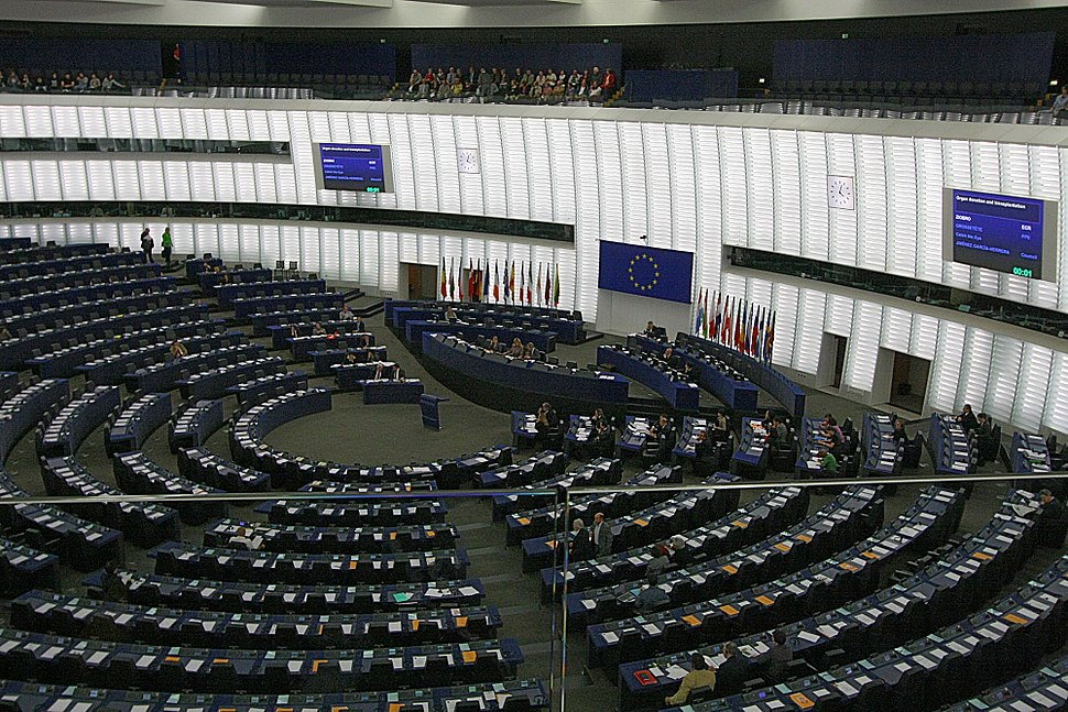 Hemicycle of Louise Weiss building of the European Parliament, Strasbourg