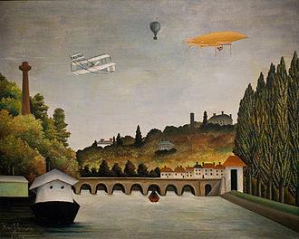 Aviation in the pioneer era - Vue du Pont de Sèvres, painted in 1908 by Henri Rousseau