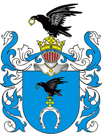 Cultural depictions of ravens - A raven on the coat-of-arms of the Polish aristocratic Clan Ślepowron, to which Kazimierz Pułaski belonged