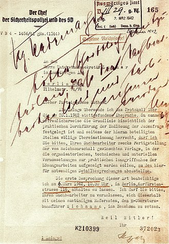 Final Solution - Follow-up letter from SS-Obergruppenführer Reinhard Heydrich to Ministerialdirektor Martin Luther asking for administrative assistance in the implementation of the Final Solution to the Jewish Question, 26 February 1942