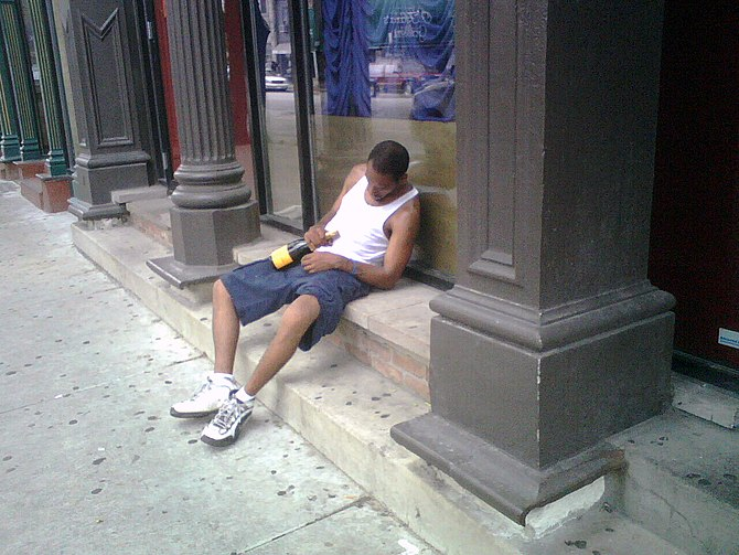 All along Wells St. in River North, wifebeater...