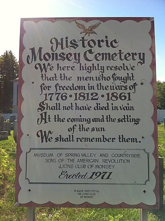 Monsey, New York - Image: Historic Monsey Cemetery Sign
