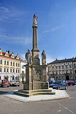 Marian column at the George of Poděbrady Square