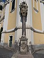 Holy Trinity Column at the Saint Bartholomew church. Listed 5673. - Gyöngyös, Hungary.JPG