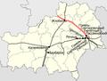 Homieĺskaja voblasć, Belarus (railroads) — Железные дороги в Гомельской области (Беларусь).png