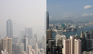 Air pollution in Hong Kong - On two cloud-free days, the haze situation can differ dramatically depending on the season and therefore on the direction of the wind.