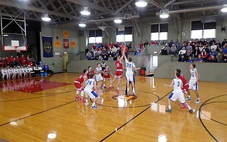 Hoosier Gym - Hoosier Gym in 2017. Note the absence of a center time line. The court is not regulation length. Teams cross the forward time line and can then back up to the rear time line.