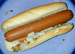 """A """"home-cooked"""" hot dog with mayonnaise, onion, and pickle-relish"""