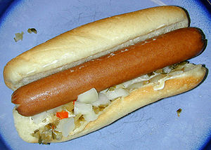 "A ""home-cooked"" hot dog with mayonna..."