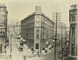 Seattle Public Library - The Occidental Block in 1900. Peeking out behind it at left is a corner of the Collins Block, which, unlike the Occidental Block, is still standing as of 2008.