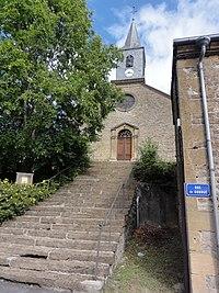 Houldizy (Ardennes) église et escalier d'acces.JPG