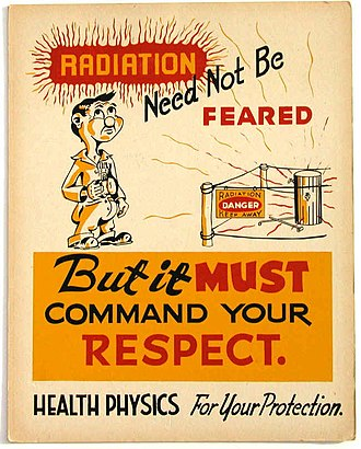 Radiophobia - Health physics poster exhorting respect for—rather than fear of—radiation. (ORNL, 1947)