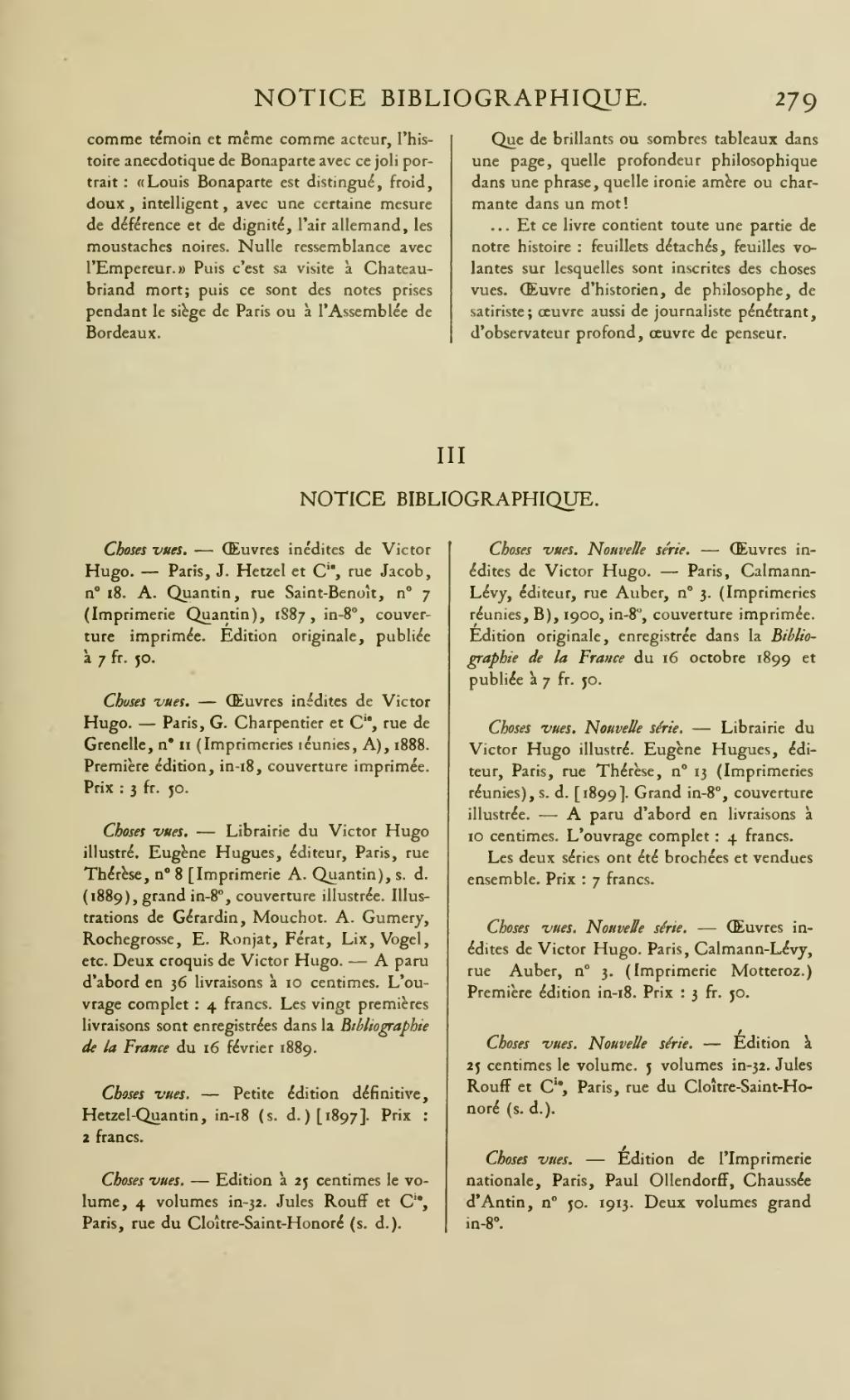 Oeuvres inédites de Victor Hugo.... Choses vues (Éd.1888-1891) - Victor Hugo