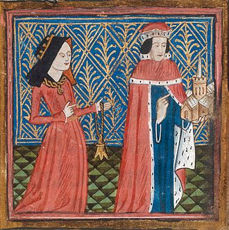 Humphrey, Duke of Gloucester - Illuminated miniature of Humphrey and his second wife Eleanor from Thomas Walsingham's Book of Benefactors to St Albans, 1431. Cotton MS Nero D VII, British Library