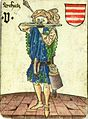 Hungarian hunter on the playing card of the Vienna court, c 1455.jpg