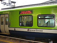 An Iarnród Éireann commuter train in the Republic of Ireland. The LED says (In Irish)